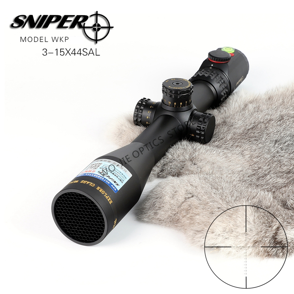 SNIPER 3-15x44 Hunting Riflescopes Tactical Optical Sight Full Size Glass Etched Reticle RGB Illuminated Rifle Scope