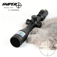 SNIPER 3-15x44 Hunting Riflescopes Tactical Optical Sight Full Size Glass Etched Reticle RGB Illuminated Rifle Scope hunting ohhunt 4 5 18x44 aoir optical full size riflescopes r g b illuminated reticle 1 inch tube lock reset rifle scope sight