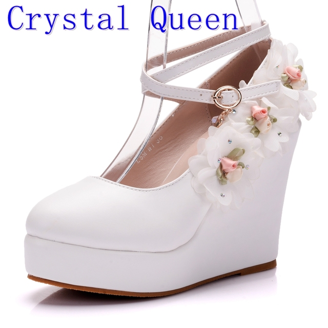Crystal Queen White Women Wedding Party Pumps Wedge Heels Buckle Straps Lace Flower Bridal Shoes Platform