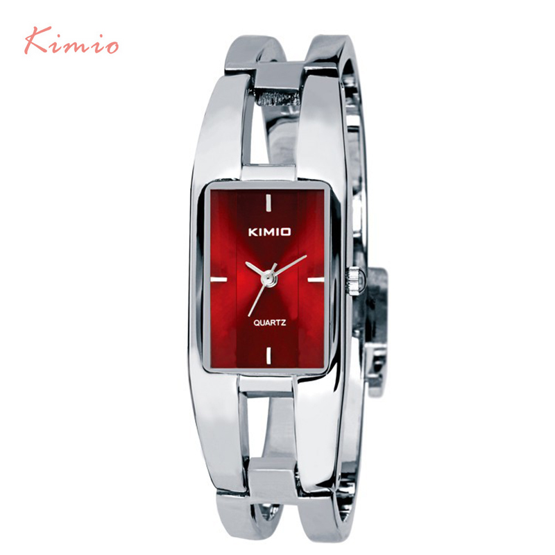 KIMIO Rectangle Bracelet Woman's Watch Ladies Stainless Steel Watches Luxury Brand Silver Plated Dress Quartz Watch With Box kimio brand luxury blue crystal women ladies watch silver steel band dress wacth japan quartz wristwatches