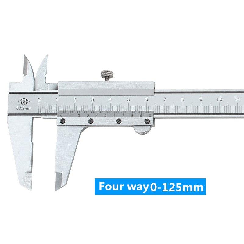 Vernier Calipe Four Way 0.02mm 0-125mm Cursor Caliper Oil Marking Card Stainless Steel Scale Vernier Caliper Measuring Tools