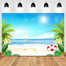 NeoBack Summer Beach Flower Photo Background Tropical Hawaii Birthday Swim Ring and Boat Photography Backdrops Studio Shoots