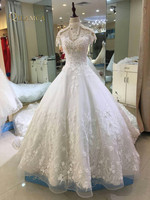 Ball Gow Lace Beading Crystal High Neck Bride Wedding Dresses Wedding Gowns Marriage Vestido De Noiva Bridal Gowns Best Quality