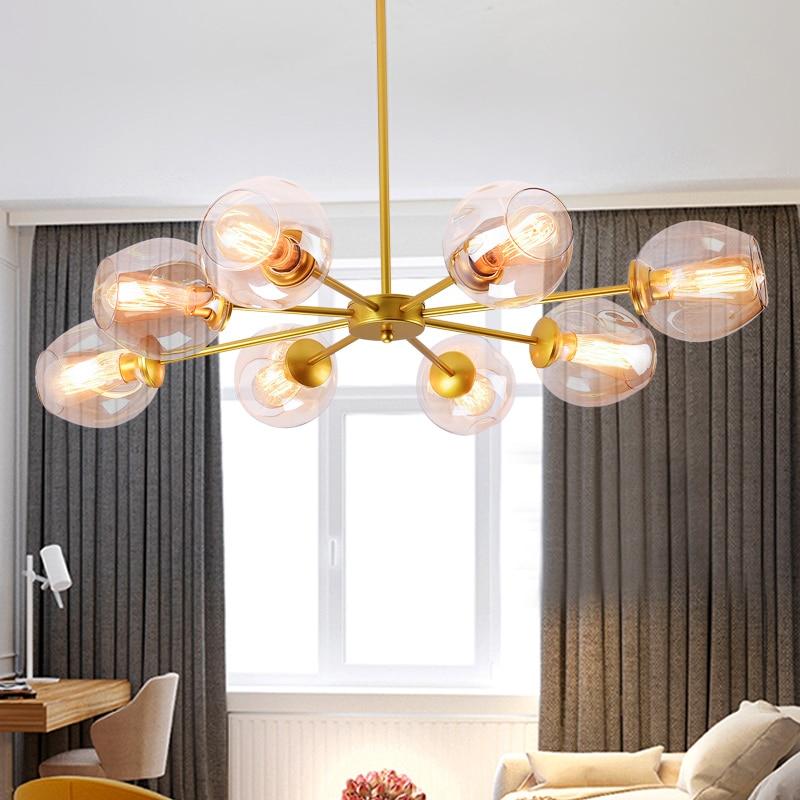 AC85-265V Negro/Oro de Cristal Moderno Luces Colgantes para comedor ...