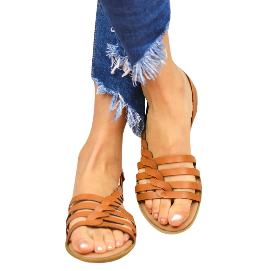 SIKETU Sandals Roman Shoes Cushioned Gladiator Women's Cross-Tied Mujer -G40