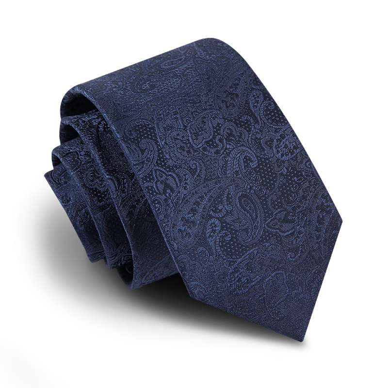 NEW Top Quality Tie 7cm & 5cm Slim Ties For Men Navy Blue Paisley Business Suit Mens Ties With Luxury Gift BOX Package