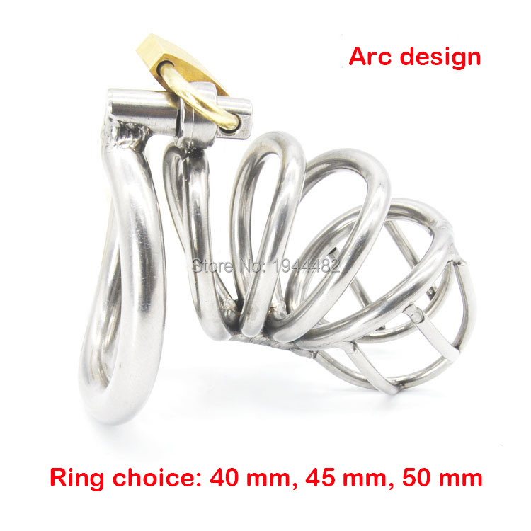 Sex Toys Male Chastity Belt Arc-shaped Cock Ring Stainless Steel Chastity Device Penis Restraint Cage  Adult Game Sex Products 2016 adult male max security steel trap locking male chastity belt with cock cage and large crotch panel cbt slave restraint sex