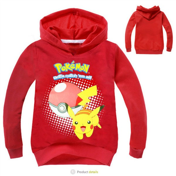 pokemon costume Hoodie toddler boys girls hooded pullover full sleeve tops children clothes pink black Size for 4 5 6 7 8 years (3)