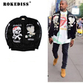 hip hop clothing men clothes fleece coats kanye west skull embroidery Sukajan velvet ma1 bomber souvenir jacket TC199