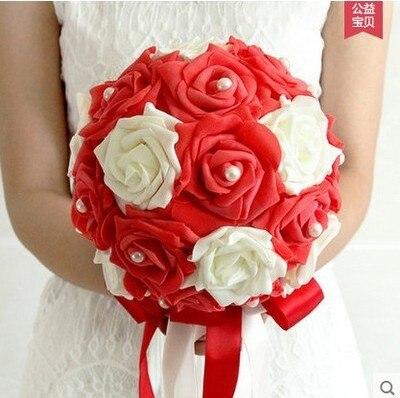Umělá květina svatební hospodářství květiny kytice nevěsta družička stuha drahokamu perla růžová růže svatební dekorace ruční práce