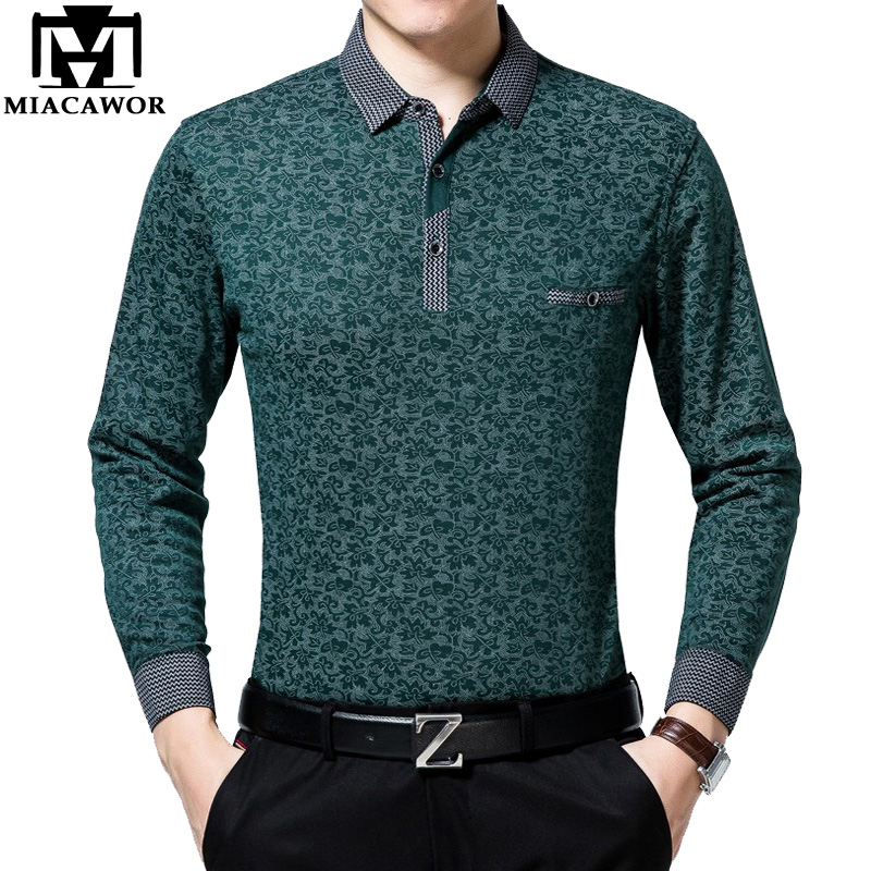 MIACAWOR New Brand Men   Polo   Fashion Print   Polo   Shirt Me Casual Camisa   Polo   Masculina Spring Long sleeve Tops Tees T693