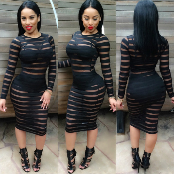 78f8e45ab71 S XL Sexy Bandage Dress New summer Black White Dress Long Sleeve Mesh  Patchwork Hollow Out Pencil Bodycon Dress Female Dresses-in Dresses from  Women s ...