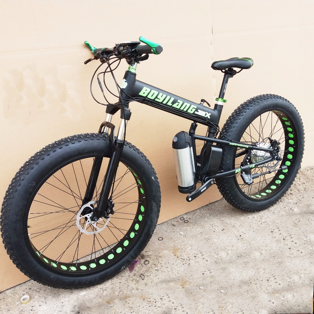 Custom version 26inch electric mountain bike snow Beach fat tire folding ebike PAS power assisted riding 1000W 1500w motor