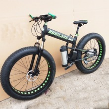 Custom version 26inch electric mountain bike snow Beach fat tire folding ebike PAS power assisted riding 250w-1000w motor