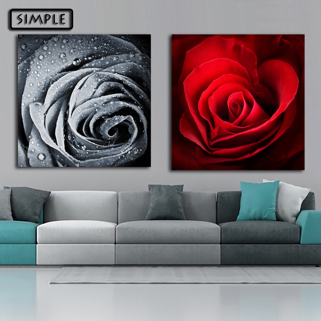 Buy Oil Painting Canvas Rose Flower Contrast Color Wall Art Decoration Painting