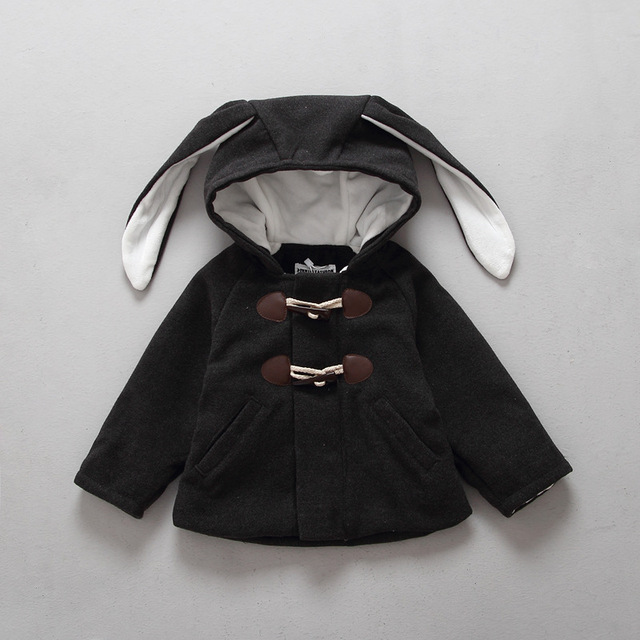 2017 Autumn And Winter Children Coat Baby Girl And Kids boy Material Woolen Coat Long Rabbit's Ear Kids Cotton-padded clothes