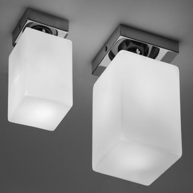 Modern Brief Fashion Milk White Glass Ice Cube Led Ceiling Light For Living  Room Balcony Corridor