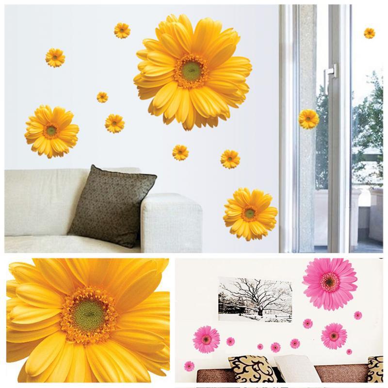 Hot Sale Daisy Flower Living Room Vinyl 3d Wall Stickers Window Decor Bedroom Wall Decals Sticker