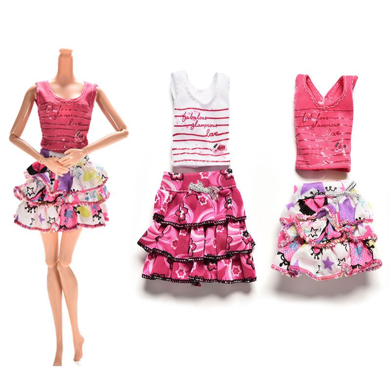 2Pcs/set Cartoon Letter Strip Printing Short Sleeve T-shirt Skirt Doll Clothes Suits