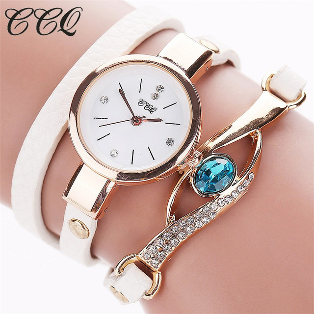 CCQ Brand Luxury Eye Gemstone Watches Women Gold Bracelet Watch Female PU Leathe