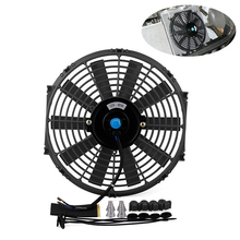 цена на Electric Universal Water Tank Car Radiator Cooling Fan Easy Installed Mount Kit Durable Push Pull Low Noise Slim Reversible
