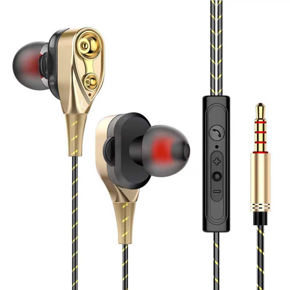 In Ear Headphones With Mic 3.5mm Metal High Bass Dynamic Stereo Earbud Wired Controlled Music Stereo Earphones For Phone PC