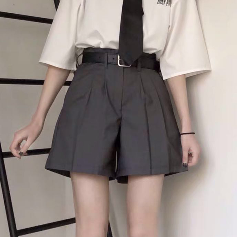 Elegant Style Women Solid Loose Suit Shorts Summer Women High Waist Preppy Srtle Women Summer Solid Shorts With Waist Sashes