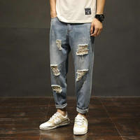 2019 Jeans Pants Loose Fit Denim Ripped Jeans for Men