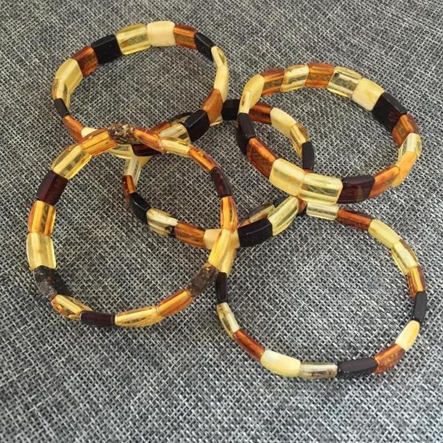 Natural Vintage Real Baltic Ambar elastic bracelet Rectangle Beads Stretch Bracelet