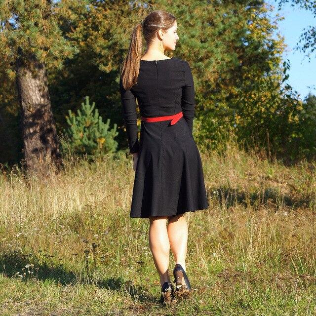 6a5ca7d4be1 Sisjuly Frauen 2017 Vintage Party Kleid Solid Black Sash Knie länge V  ausschnitt 1950 s Retro Kleider Volle Hülse Herbst Retro kleid in Sisjuly  Frauen 2017 ...