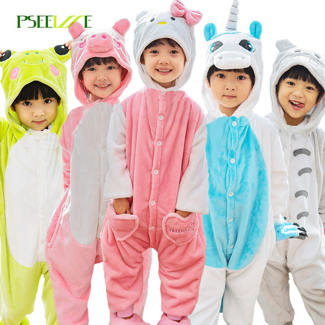 PSEEWE Cosplay onesie kids Flannel children's pajamas set Pikachu Totoro unicorn panda pajamas for boys girl sleepwear 4y-12y