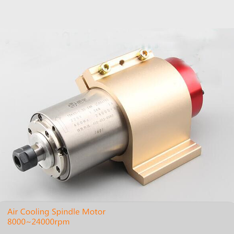 1.5KW Air Cooling Spindle Motor 8000~24000rpm 220V 7A 400Hz 80*215mm ER16 For CNC Engraving Milling Machine+80mm Mount Bracket cnc spindle 1 5kw gdz 80 1 5f air cooling spindle 220v 5a chuck nut er11 diameter 80mm 400hz 24000rpm use for cnc router machine