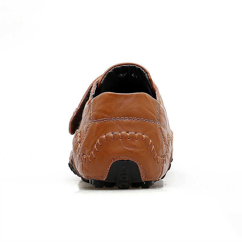 JKPUDUN El Yapımı Hakiki deri erkek ayakkabısı Lüks Marka İtalyan Casual Erkek Loafers Nefes sürüş ayakkabısı Mokasen üzerinde Kayma