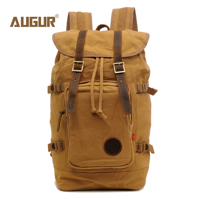 AUGUR Men Backpacks Vintage Canvas Leather Men's Backpack Larger Capacity Travel Bags For Men Male Schoolbag 19 inch Laptop Bag big capacity tactical canvas backpack vintage laptop bags hiking men s backpack schoolbag travel rucksack outdoor daypack me0888