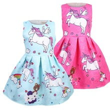 2019 Baby girl clothes unicorn dress kids dresses for Girls Christmas costume cosplay Party Vestidos 8627