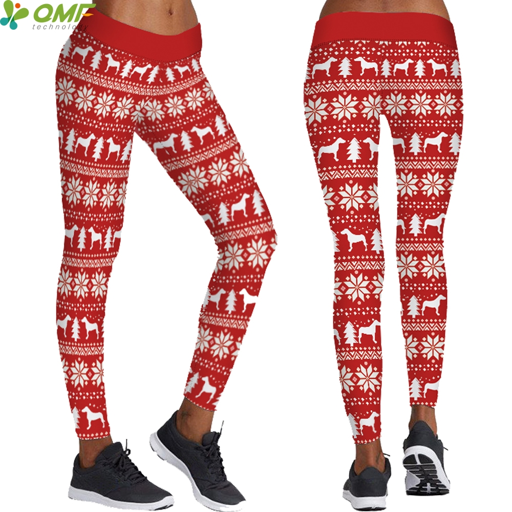 0dfa90d3cee Red Christmas Reindeers Women Yoga Leggings Autumn Winter Fitness Trousers  Sports Skinny Tights Santa Claus Elk Pants Holiday