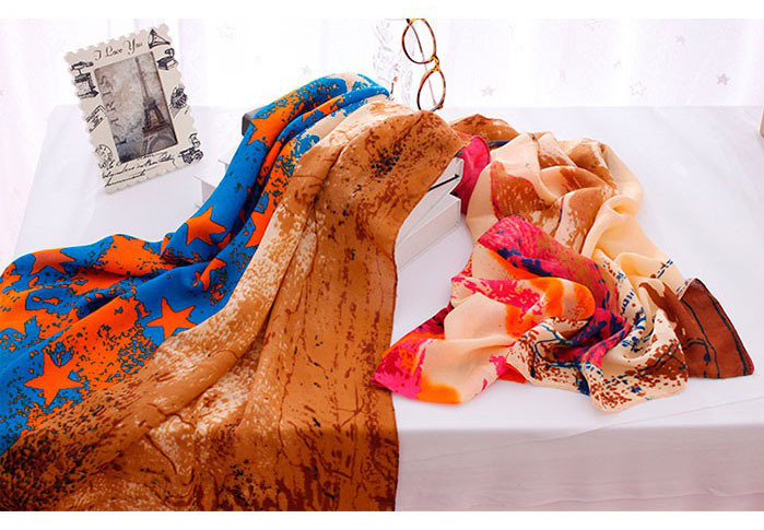 Женский зимний шарф женский, пятиконечная звезда Печатный шарф, шарф из вискозы, бандана, шали и шарфы, пончо и накидки, британский стиль