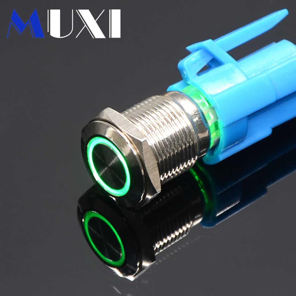 1 Pc 22mm auto-verrouillage étanche bouton poussoir en métal interrupteur avec LED light3V 5 V 6 V 12 V 24 V 36 V 48 V 110 V 220 V rouge bleu vert jaune
