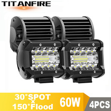 TF30 4inch LED DRL Work Light Driving offroad Boat SUV 4x4 12V 24V 60W Fog Car Assembly ATV Daytime Running