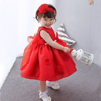 New Baby Red Flower Dress+headband,infant Girls Big Bow Flowers Princess Dress Birthday Wedding Dress Vestidos Infantil