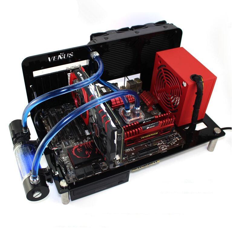 DIY Desktop Acrylic Rack Water Cooling ATX MATX Transparent Computer Towers Case Horizontal Main Chassis Box