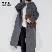 Spring New Fashion Womens Slim Fit Woolen Long Jackets Female Retro Oversize Wool Blended Long Coat Ladies Outwears Size S L