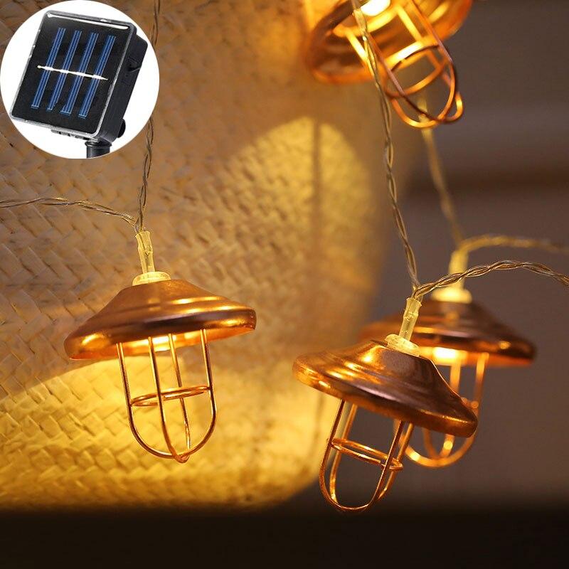 20 LED fée rétro Rose métal abat-jour 6 cm Luminaria solaire chaîne lumières 5 m LED décoration pour noël guirlande lumières chaîne