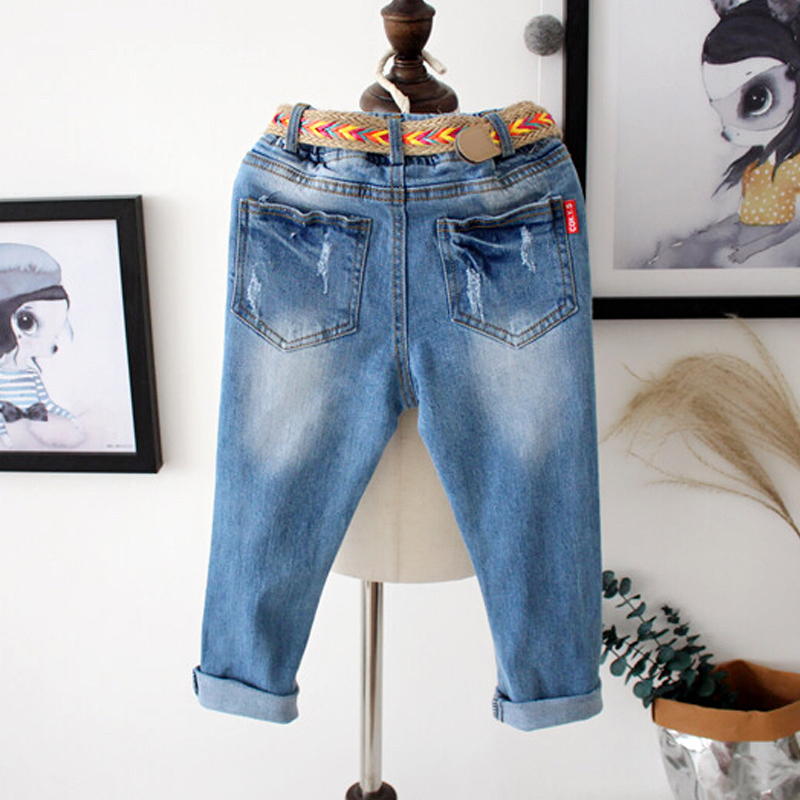 835c7983f507 2017 Spring Summer Elastic Waist Children Denim Pants + Belt 2Pcs Kids Boys  Jeans Casual Ripped Leggings For Girls Child Clothes-in Jeans from Mother    Kids ...