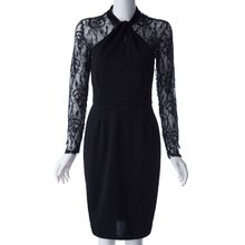 Stylish Lace Splicing Long Sleeve Dress For Women stylish scoop neck long sleeve lace up knitwear for women