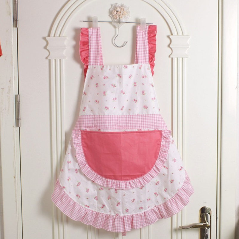 Korean style ruffle lace aprons for women baking mats apron kitchen helper cooking gloves princess pocket not waterproof sale