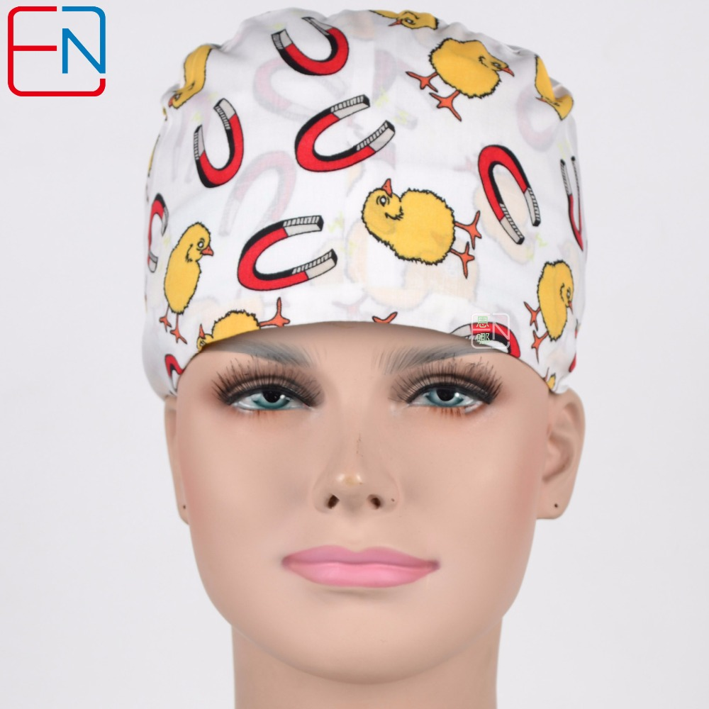 Hennar Scrub Caps For Hospital Doctor Nursed Caps Chicked Magnet Pattern Operating Room Hat Medical Mask New Hot Sale Cap Unisex