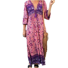 Boho Dress Chic Floral Print Cotton Maxi Dress V-neck Long Sleeve with Tassel All Season Bohemian Femme Dress
