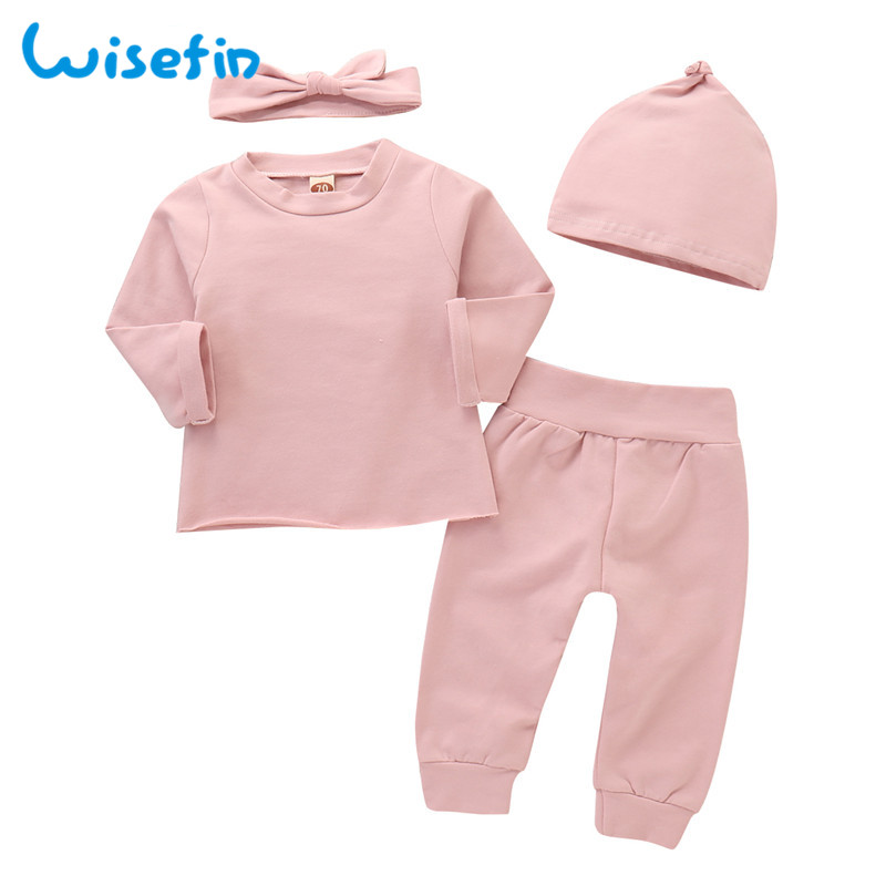 6f082082c Wisefin Newborn Baby Girl Outfits Long Sleeve 4 Piece Solid Color Infant  Girl Autumn Clothing Set