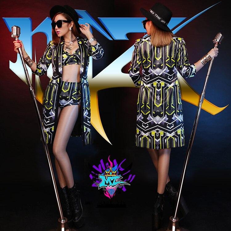 Personība! 2019. gada naktskluba New Bar dziedātājs DJ DS dzeltenās un melnās ģeometriskās dejas garā rindkopa uzvalks trīs komplektu skatuves kostīmi